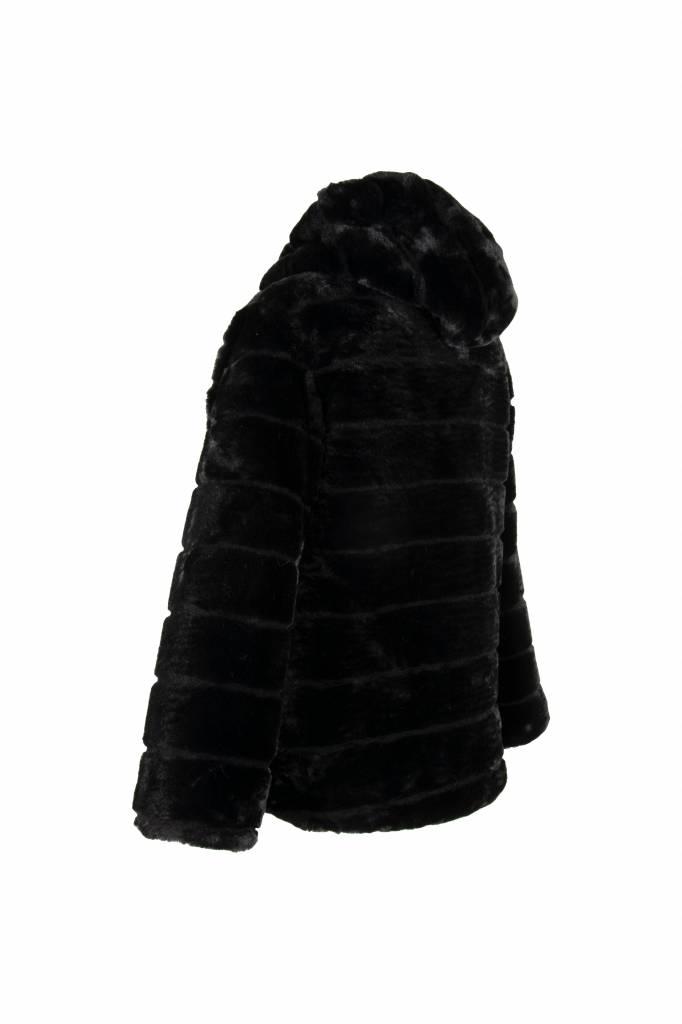 Dames bontjas kort zwart met capuchon