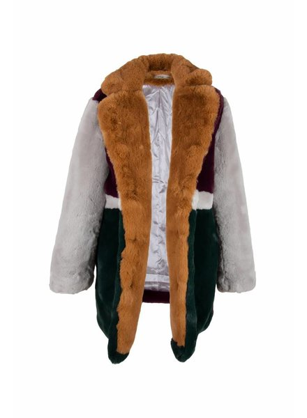 Dames fake fur jas met print