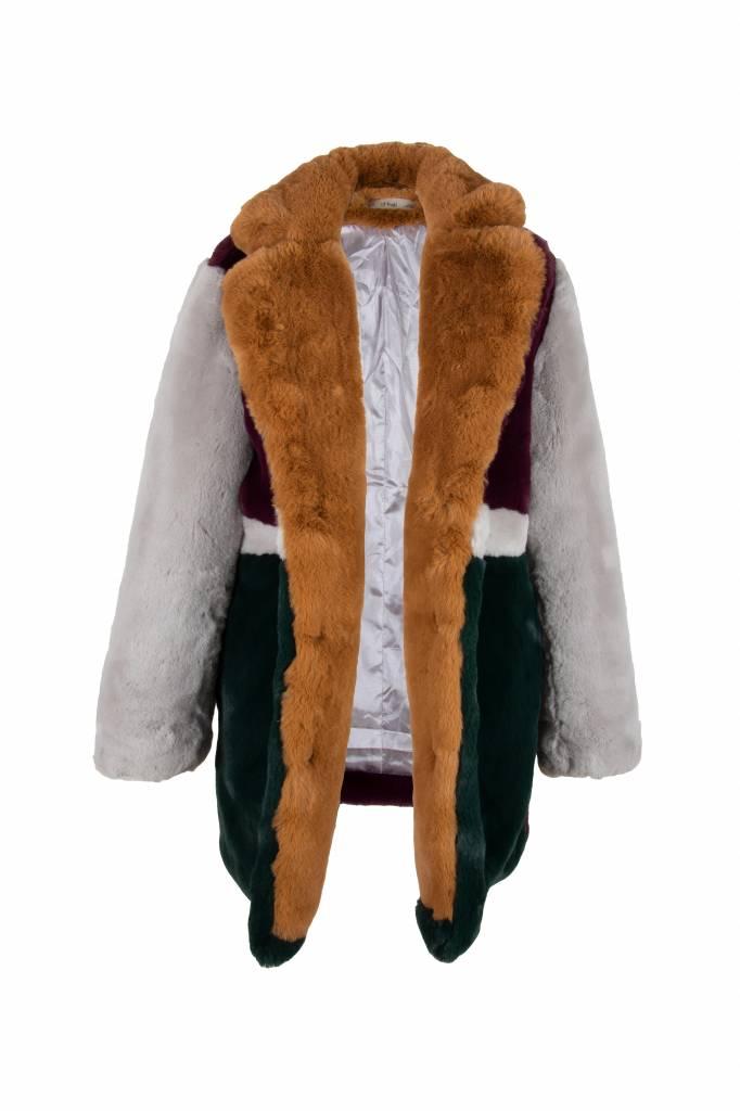 Dames fake fur jas  met print