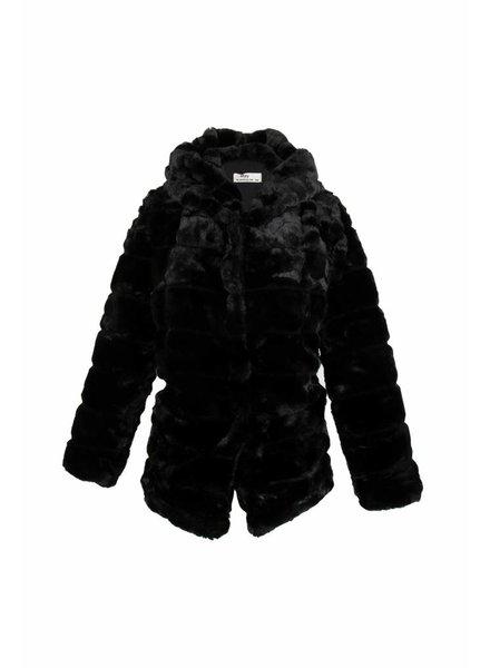 Lulu Dames kort imitatie zwarte jas met capuchon