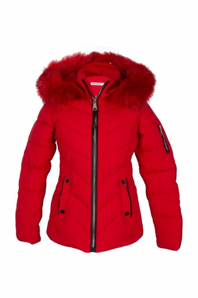 Attentif Dames kort rood winterjas met bont
