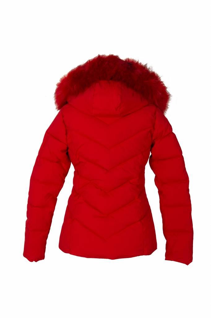 Dames kort rood winterjas met bont