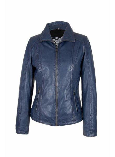 Carlo Sacchi Leren jas dames 9938 A blauw