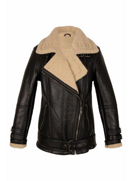 Carlo Sacchi Dames lammy coat zwart met schuin rits