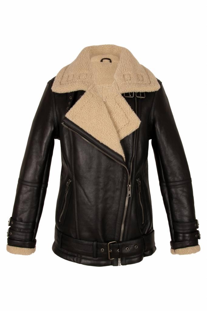 Dames lammy coat zwart met schuin rits