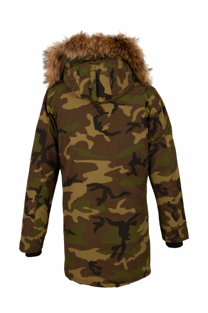 Winterjas Parka Heren.Attentif Heren Camouflage Parka Winter Jas