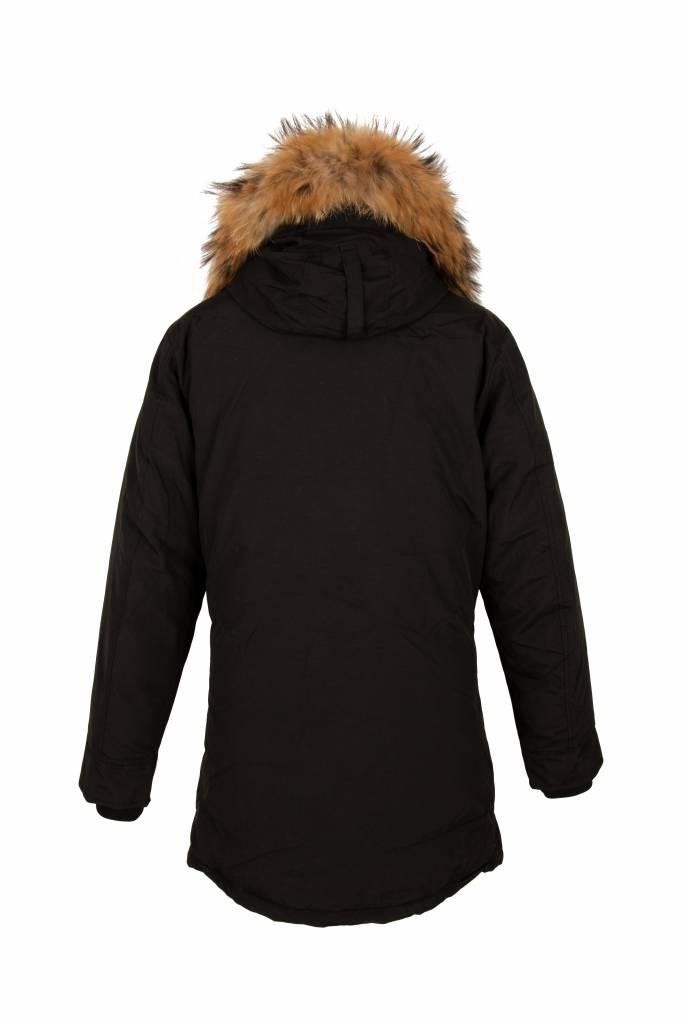 Heren zwart parka winter jas