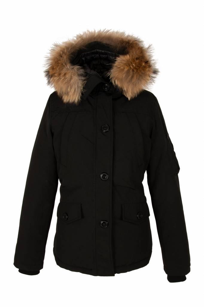 Attentif Dames winter jas Canada kort zwart