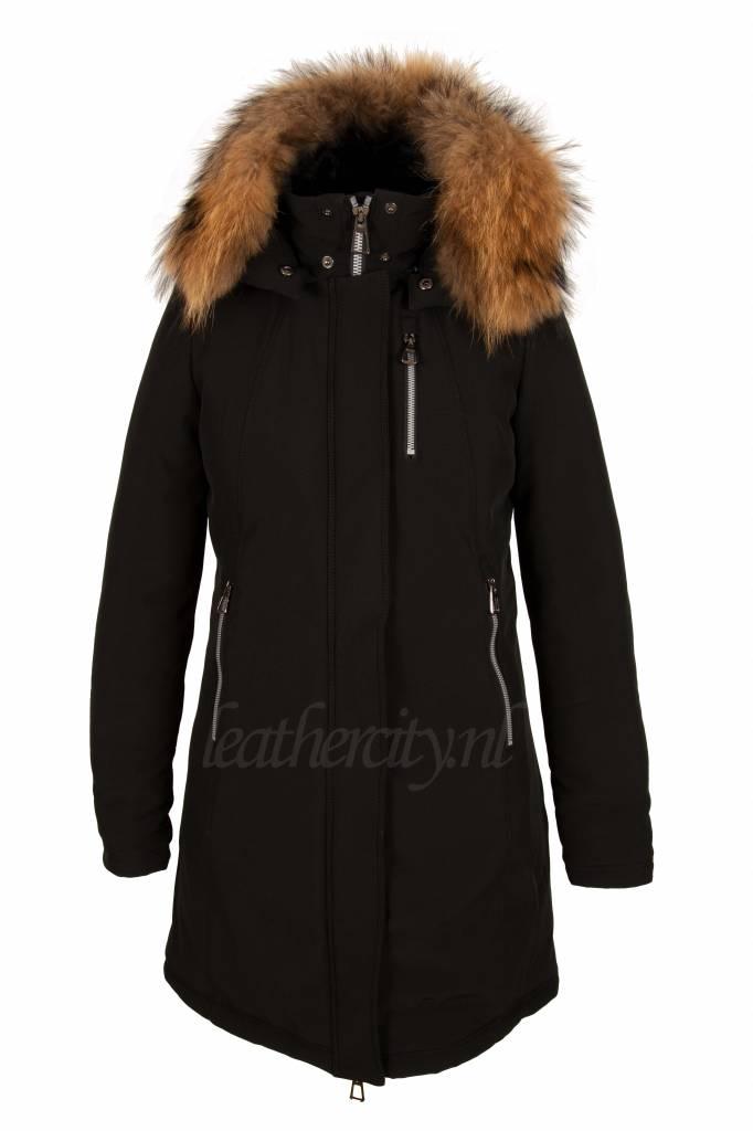 Dames softsheel winterjas zwart V1