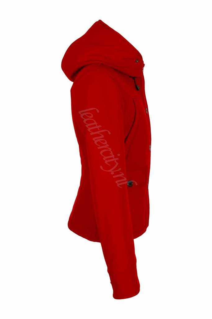 Rode jas met bontkraag dames