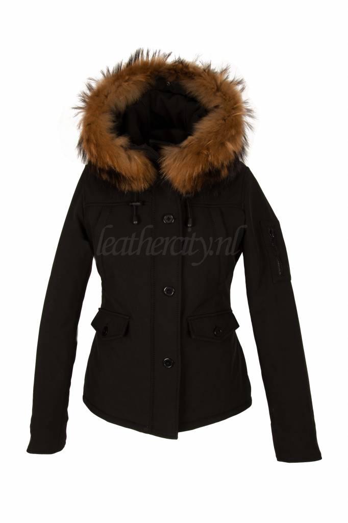 Carlo Sacchi Dames softshell winter jas kort zwart met bont