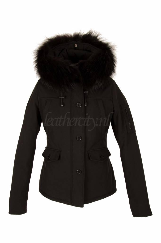 Dames winter jas kort zwart
