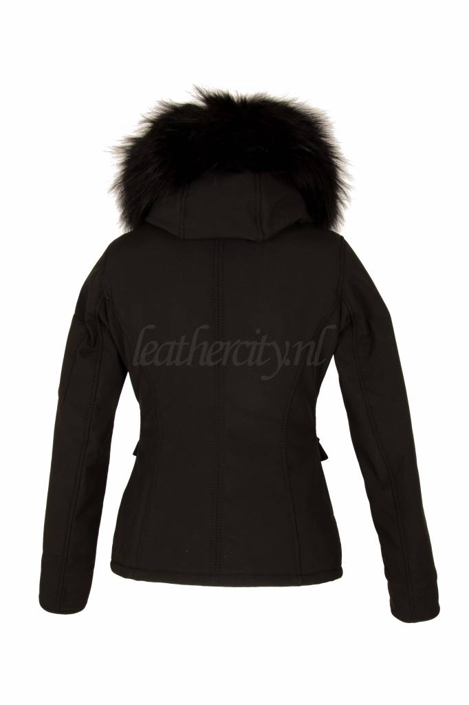 Carlo Sacchi Dames winter jas kort zwart met zwart bont