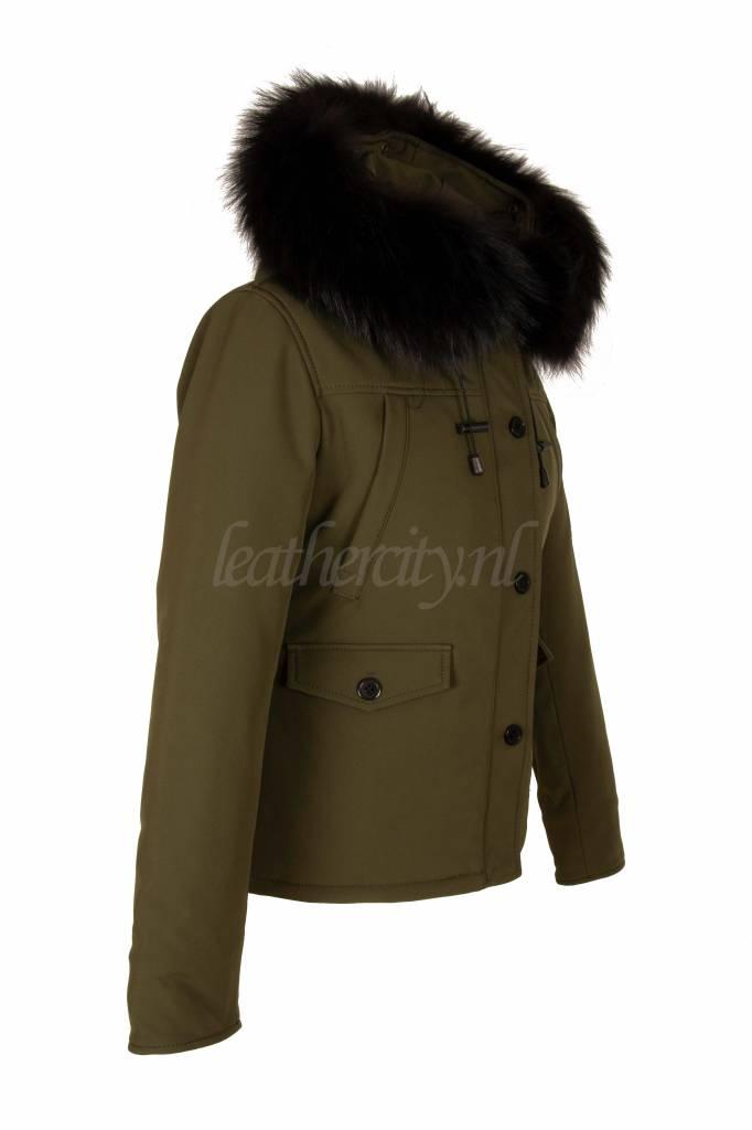 Dames winterjassen kort groen met zwart bont