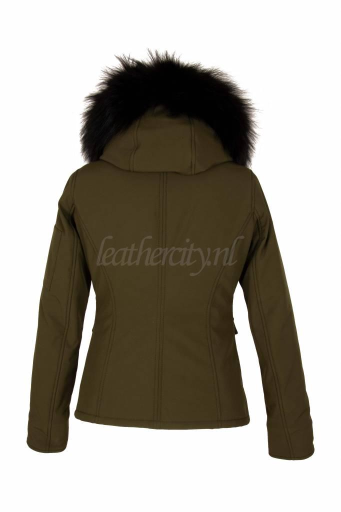 Dames winter jas kort groen met zwart bont