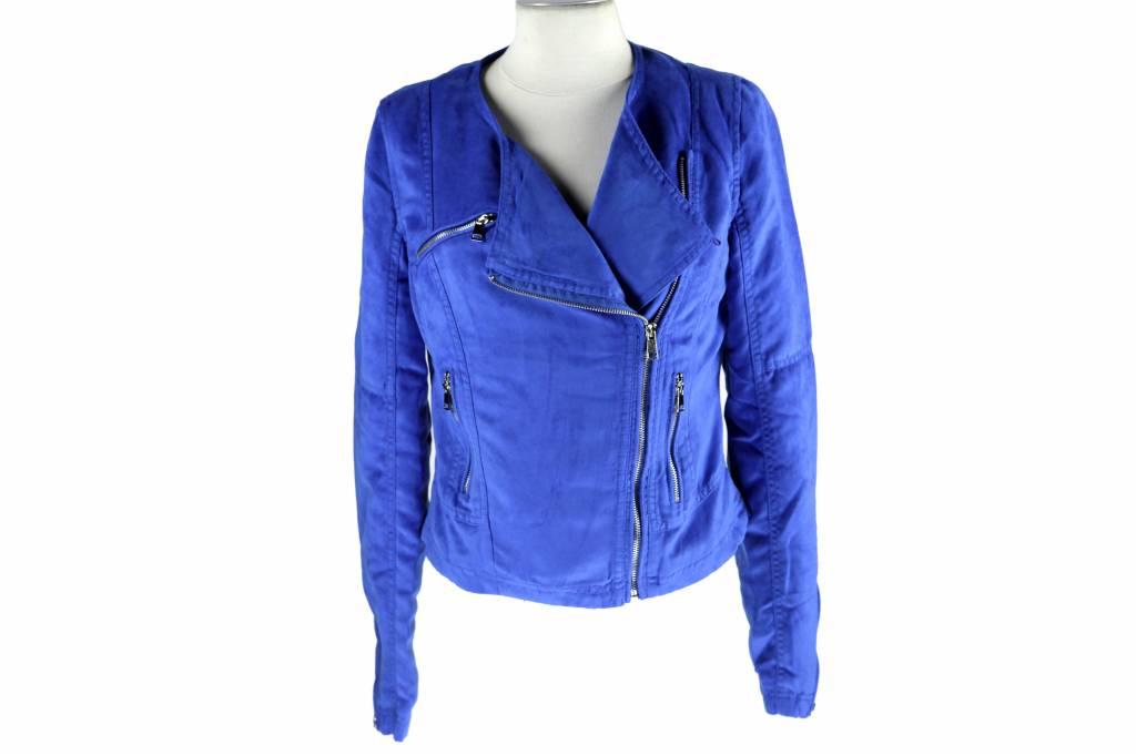 Dames imitatieleren jas blauw