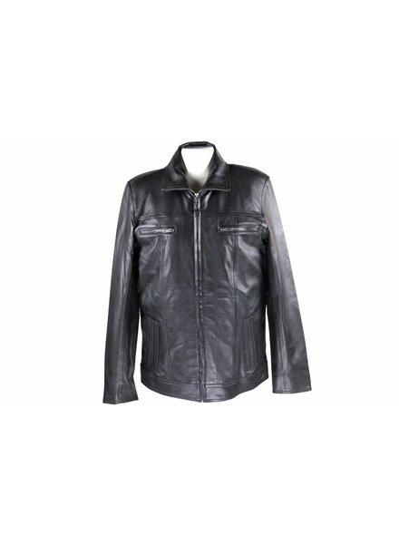 Carlo Sacchi Heren Leren jas DA004 zwart