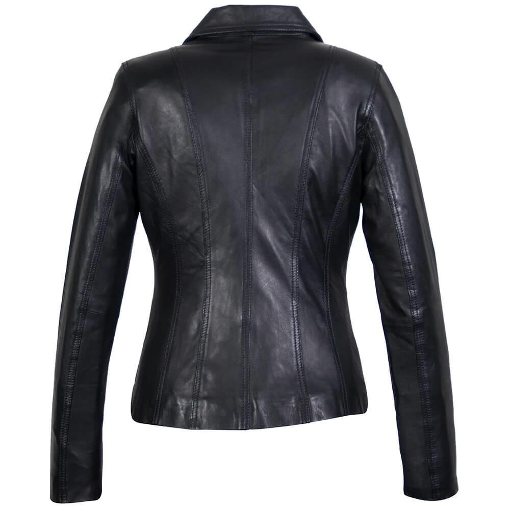 Carlo Sacchi Dames leren jas s blazer zwart