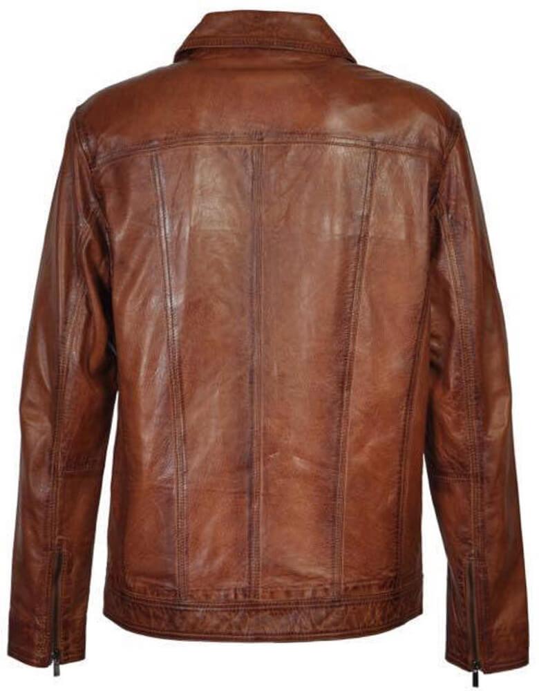 Leren bikerjack heren bruin brandi Leather City