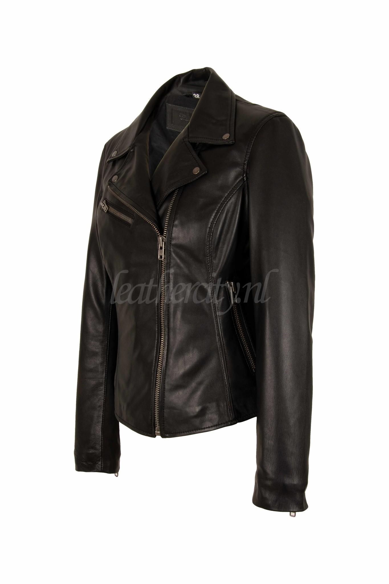 Carlo Sacchi Zwarte leren jas perfecto IN zwart