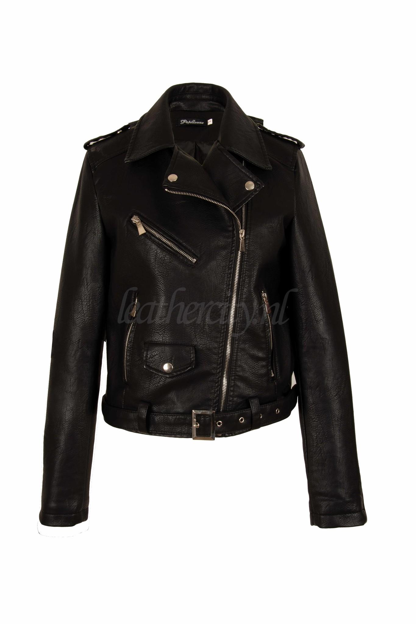 Imitatie Leren Jas Dames.Zwart Leren Jack Dames Perfecto Leather City