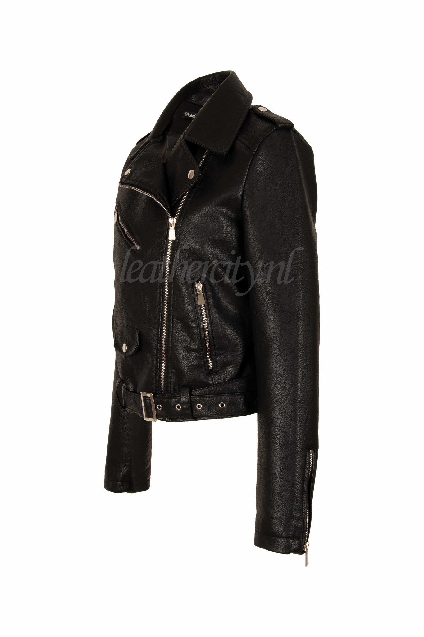 Dames imitatie leren jasje zwart 058