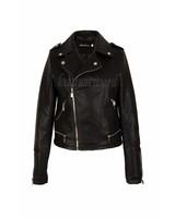 Dames imitatie leren jas zwart 302