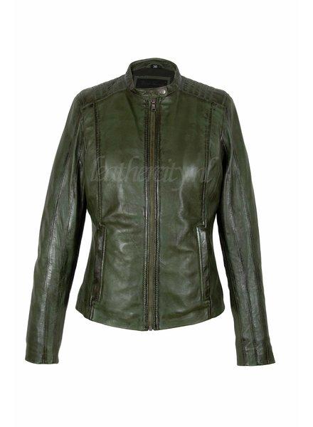 Carlo Sacchi Leren jas dames Silve groen