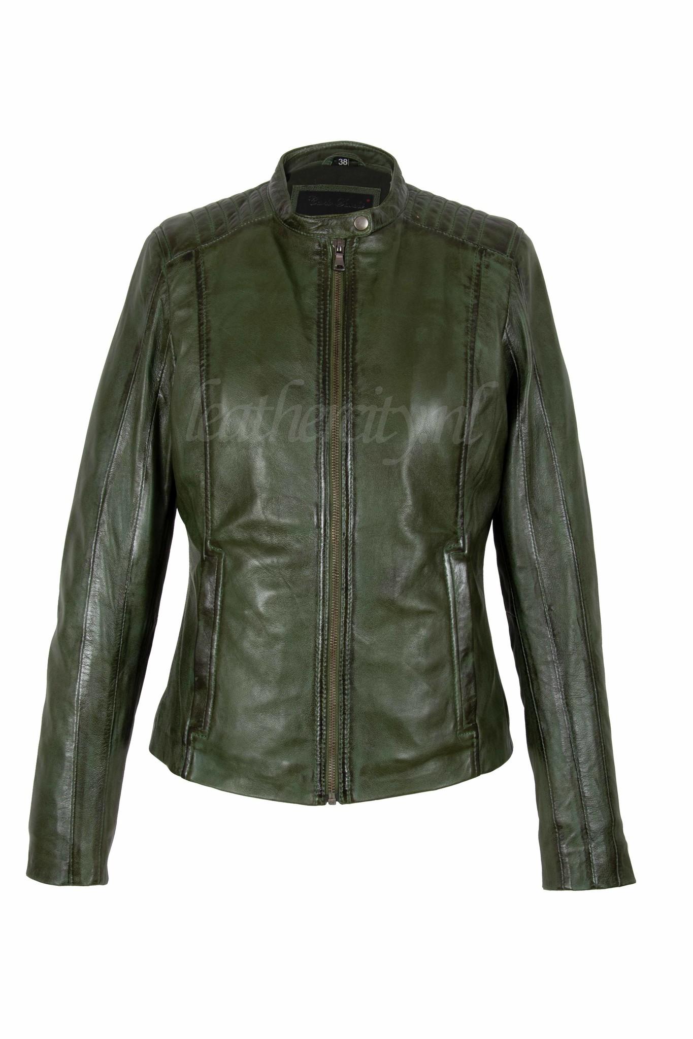 Leren Jas Dames Groen.Dames Leren Jas Groen Silve Leather City