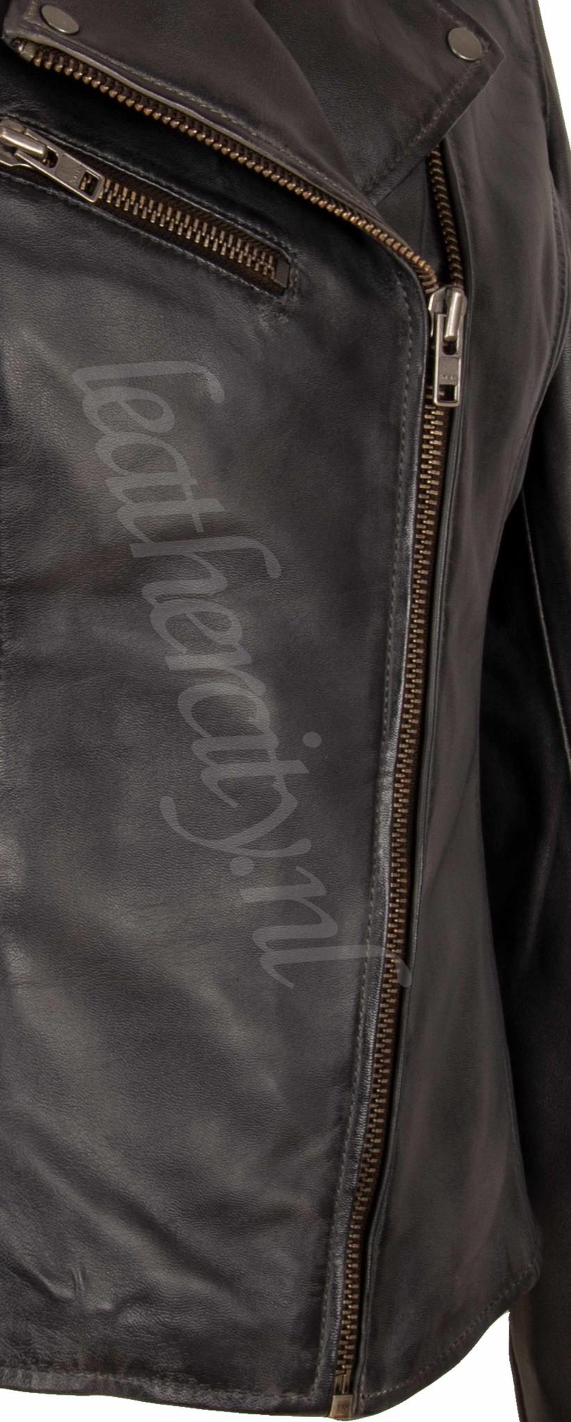 Carlo Sacchi Leren jas dames perfecto IN grijs