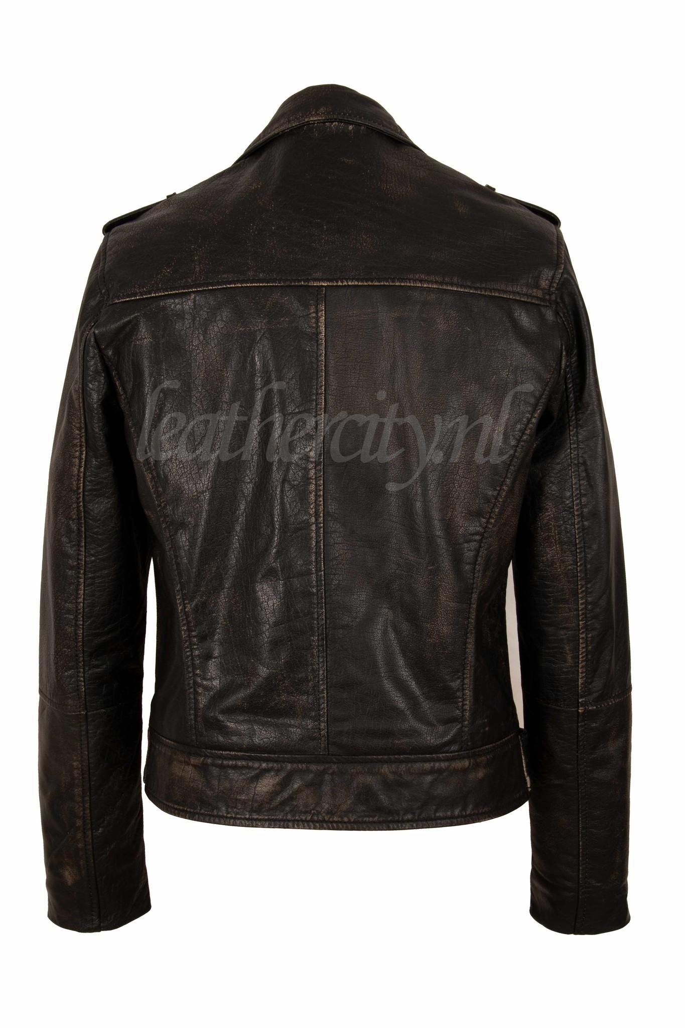 Carlo Sacchi Leren bikerjack heren zwart bruin