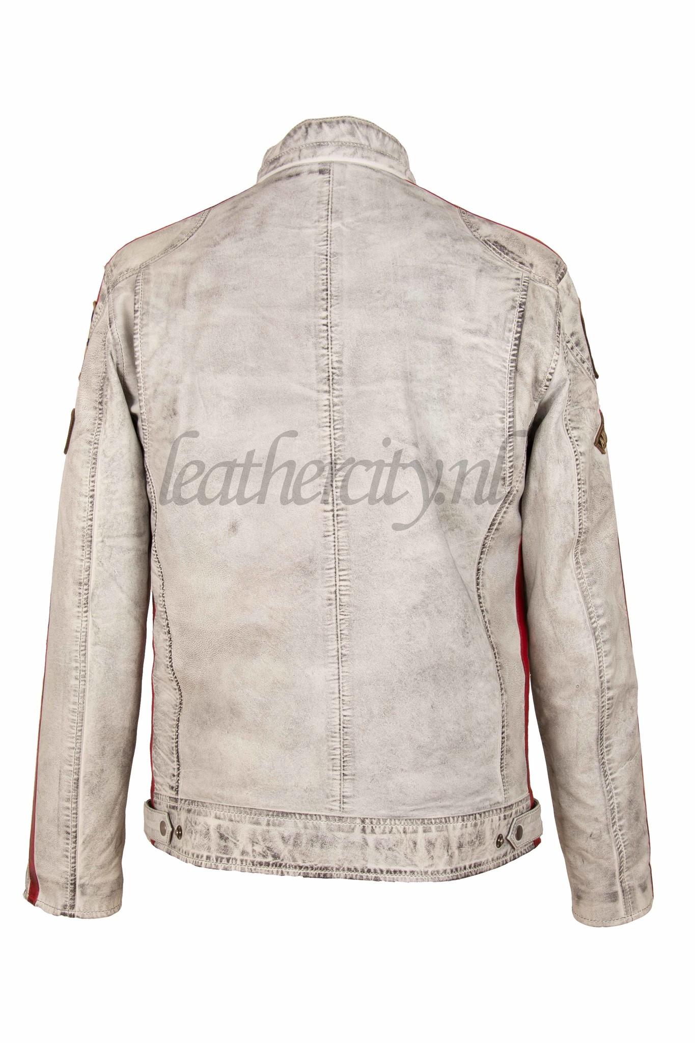 AIM Leren heren jas wit 3738 HD