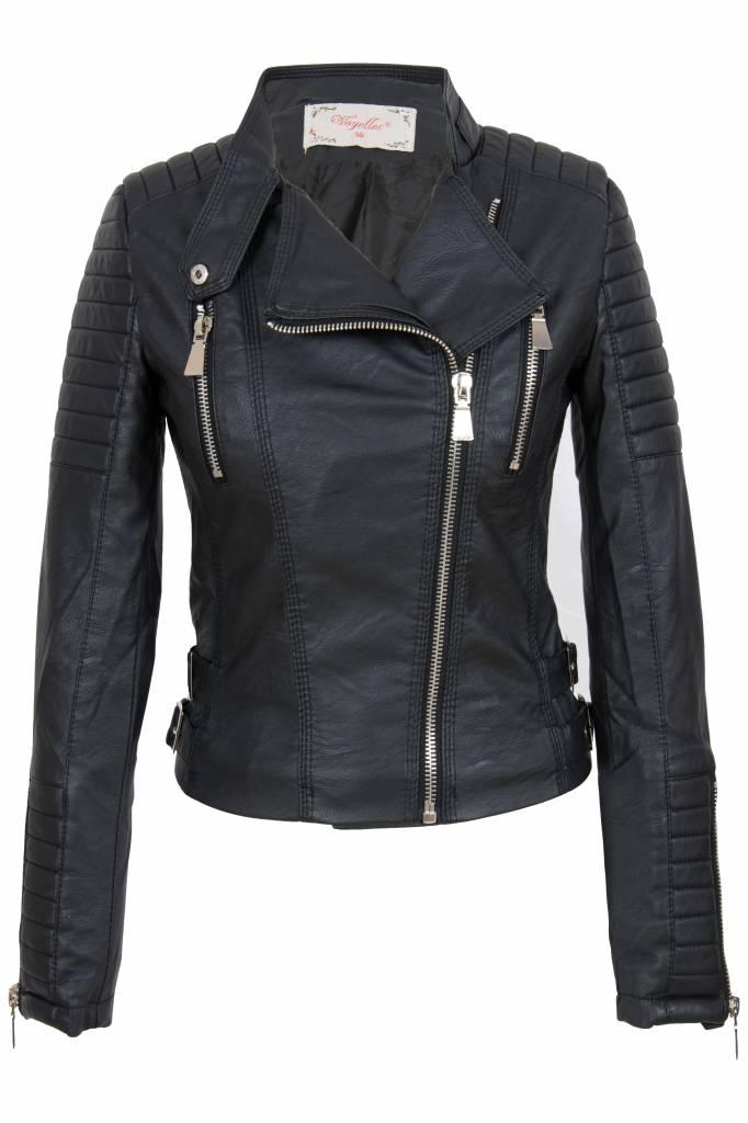 Winter Leren Jas Dames.Dames Imitatie Leren Biker Jas Zwart Leather City