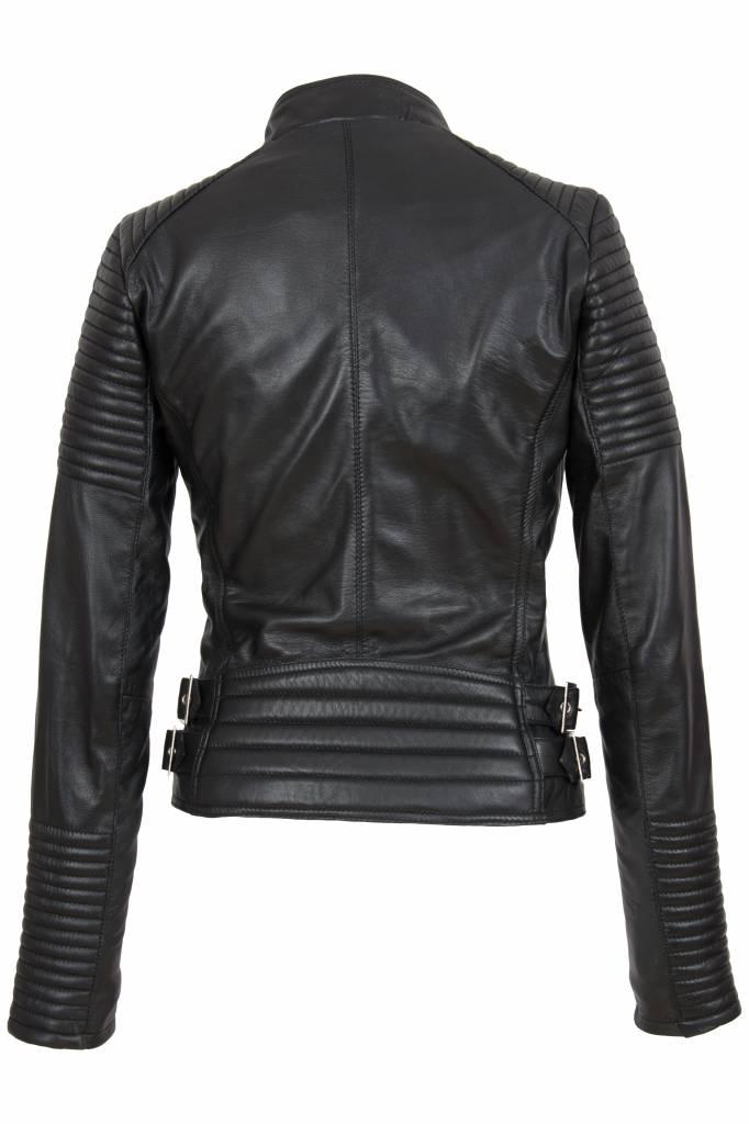 AIM leren bikerjack dames  4060 zwart