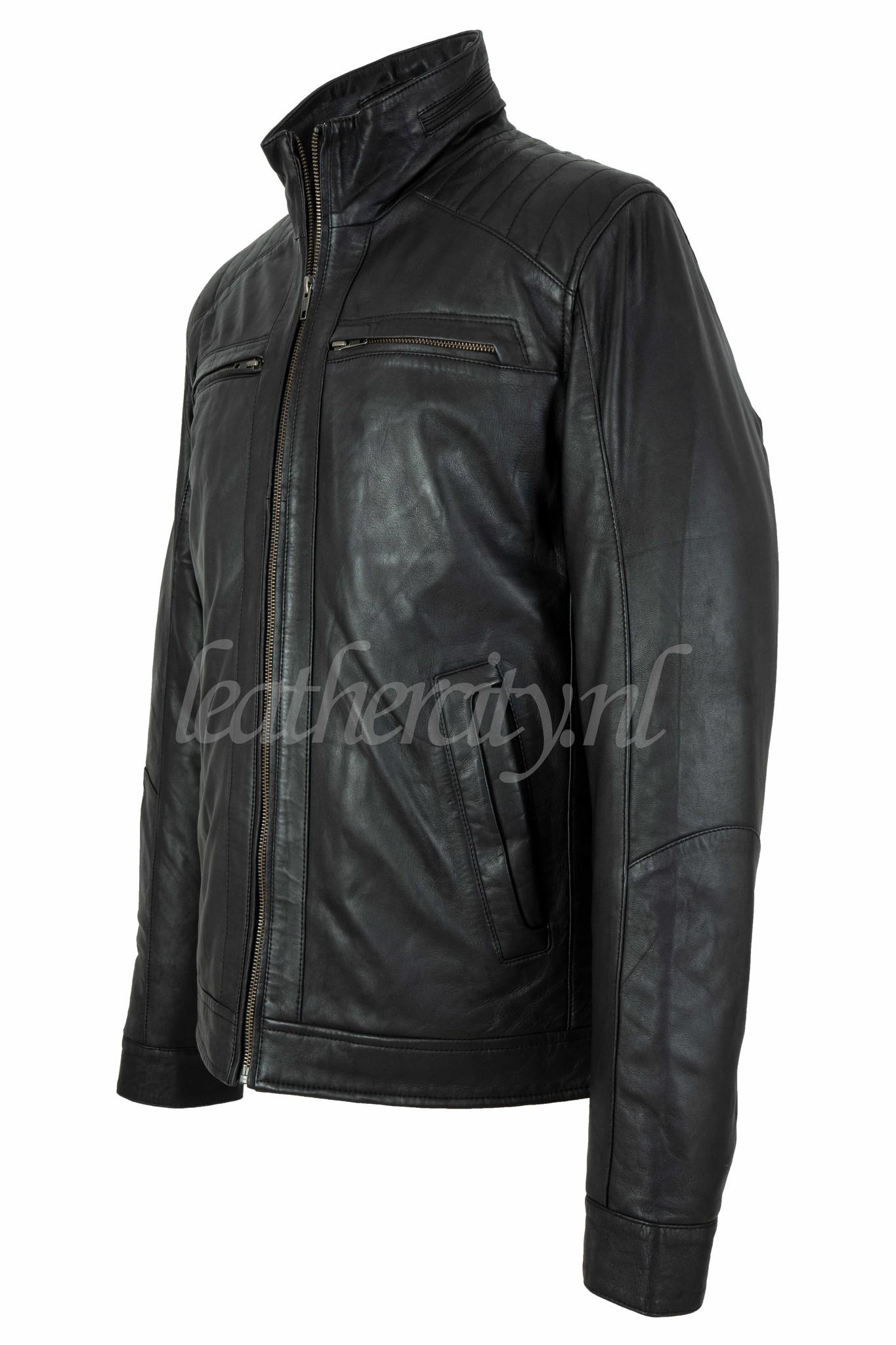 Leren jas heren  zwart dubbel kraag