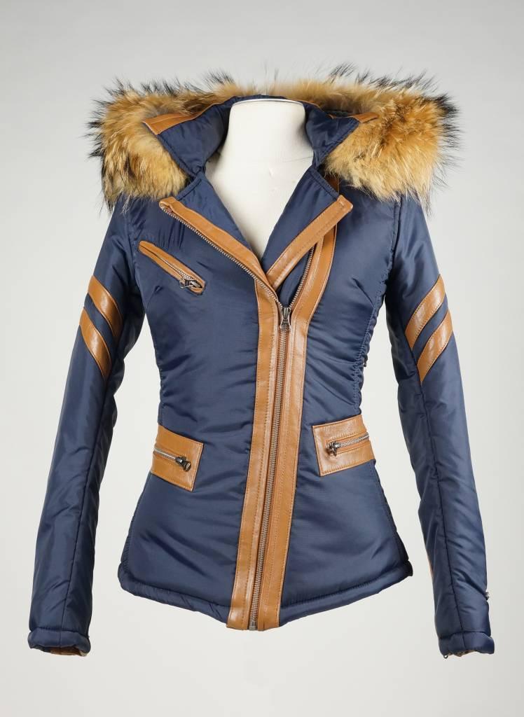 Dames winterjas met Bontkraag STF kort blauw