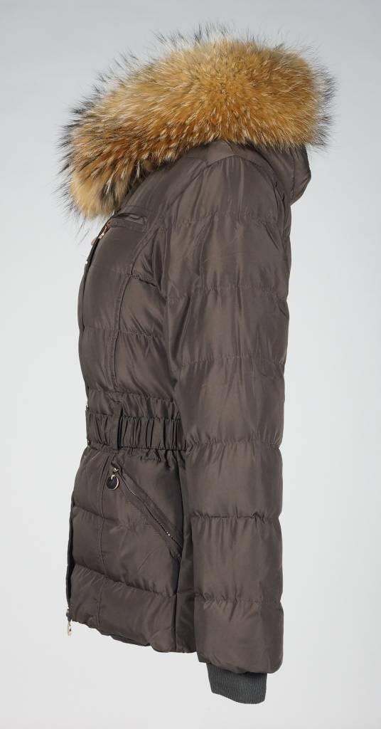 Adrexx Dames winterjas met Bontkraag LC2116 bruin.