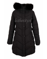 Dames zwart winterjas met zwart bont