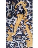 Dames sjaal cashmere geel met print