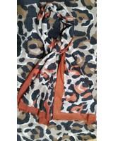 Dames cashmere  sjaal rood met print