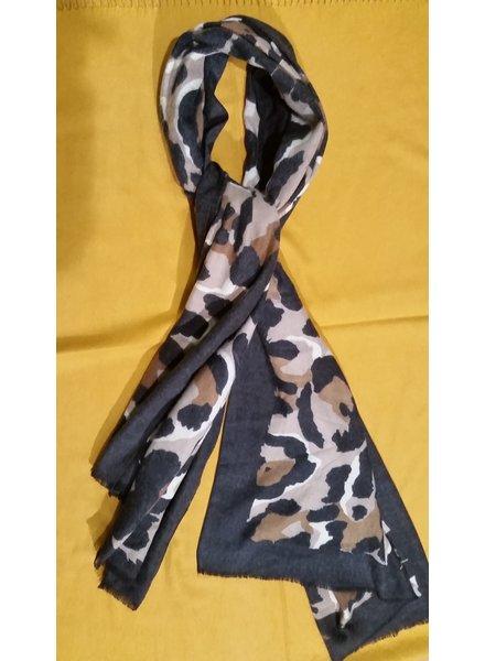 Dames cashmere sjaal zwart met print