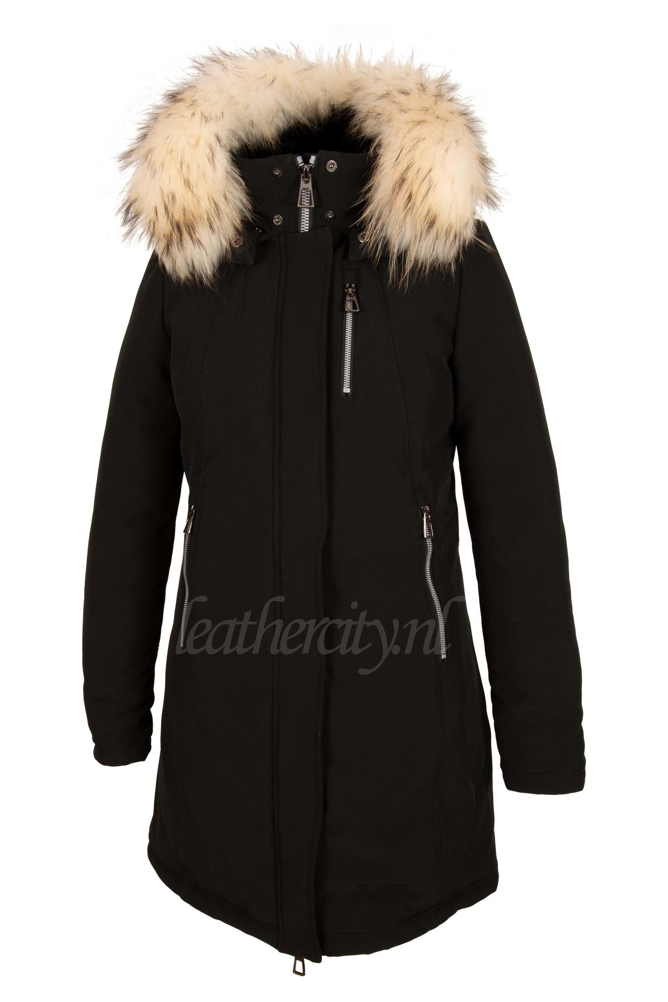 Dames softsheel winterjas zwart met witte bont