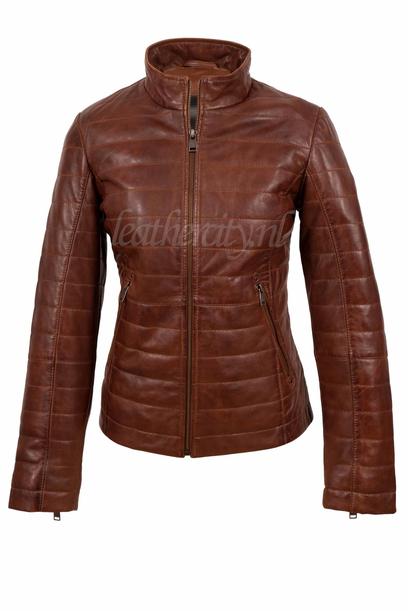 Dames leren jasje bruin