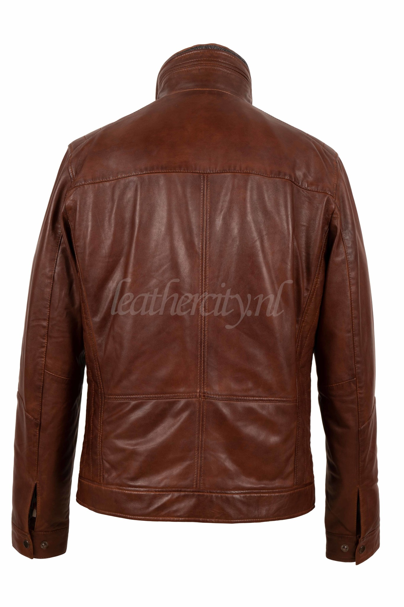 Heren leren jas bruin met afnembaar kraag