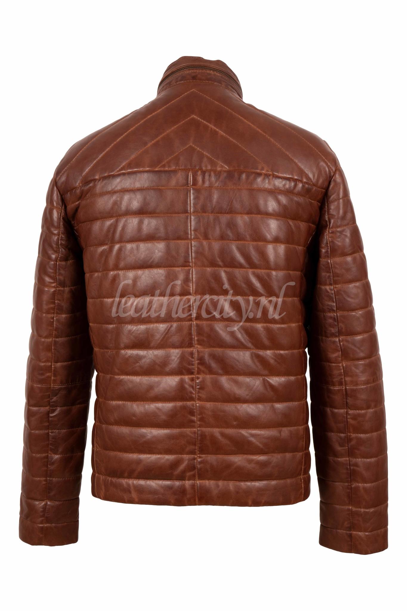 Heren bruin leren jas