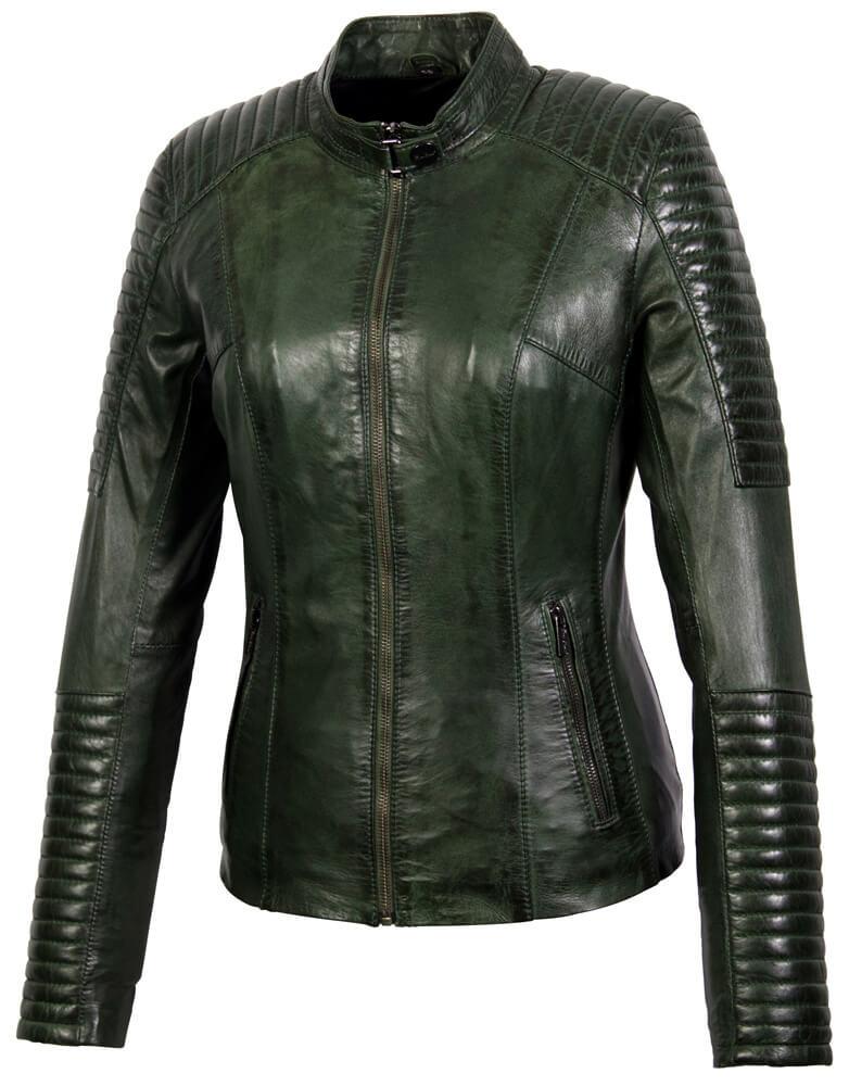 Dames leren jas lady biker groen