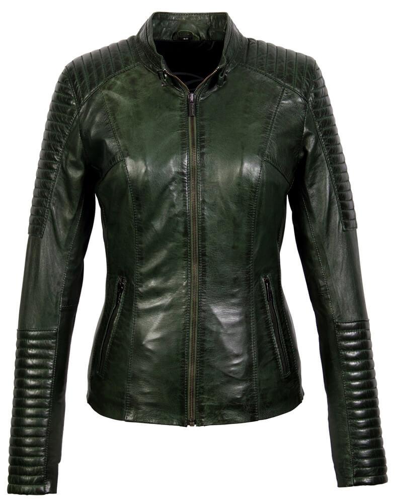 Carlo Sacchi Dames leren jas lady biker groen
