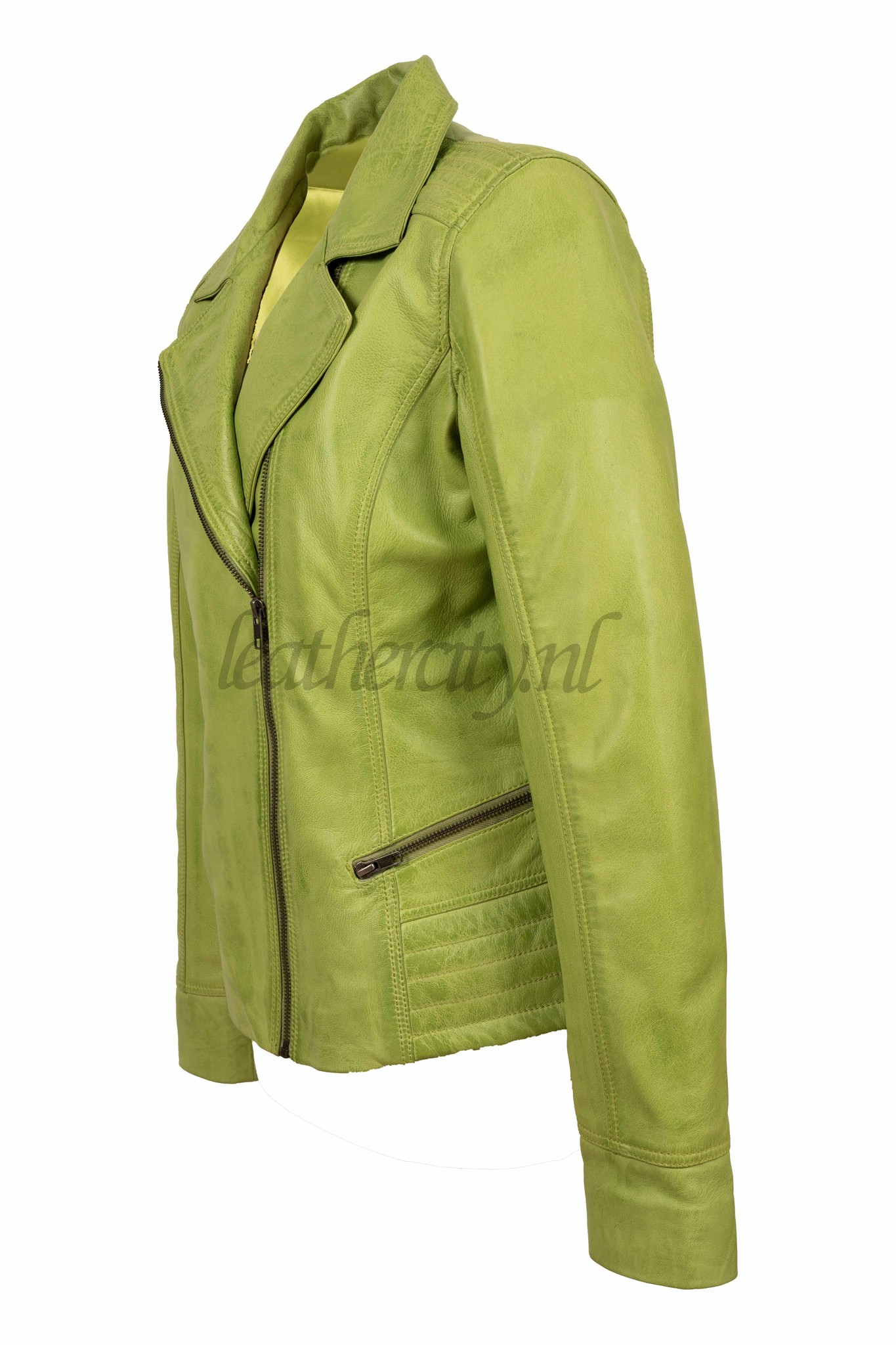 AIM Dames leren jasje licht groen