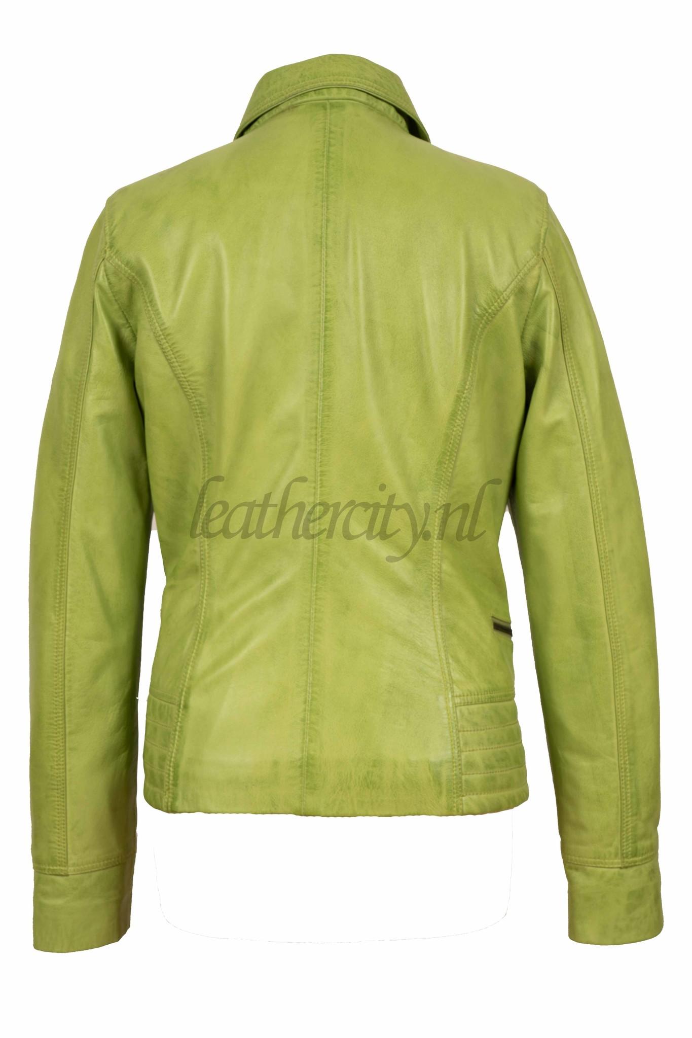 Dames leren jasje licht groen