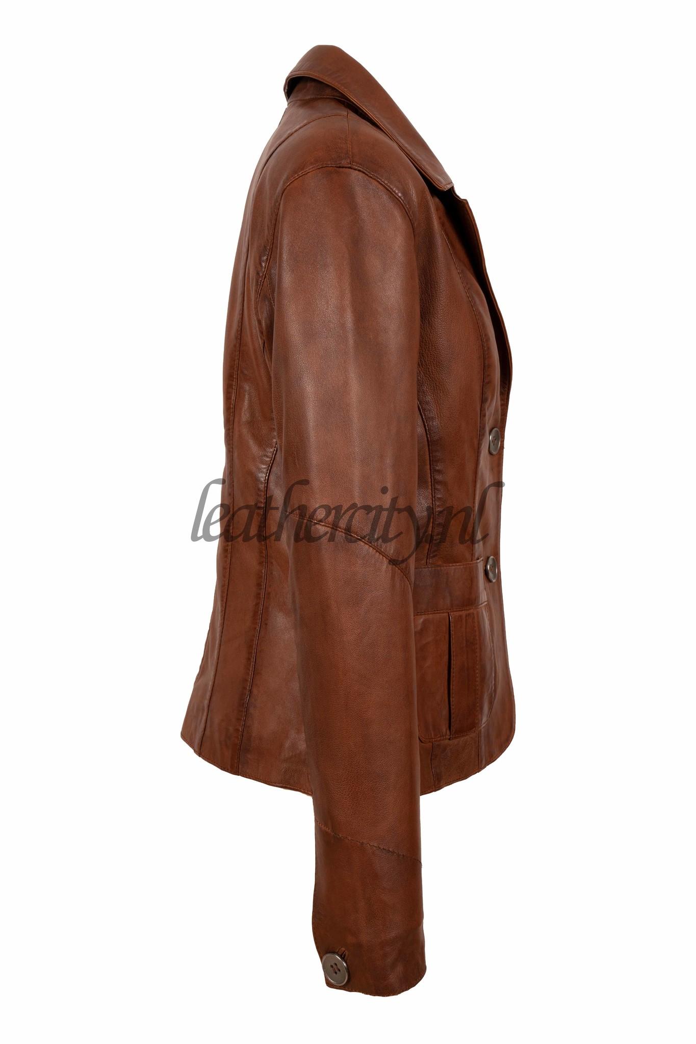 Dames leren blazer jasje bruin